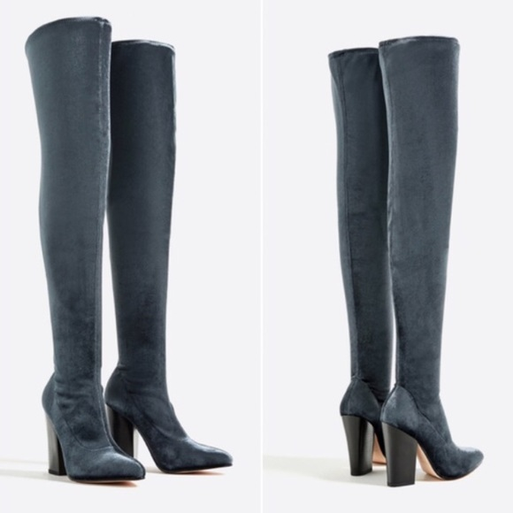 354f83cb978 ZARA OVER THE KNEE VELVET BOOTS NWT