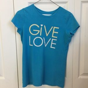 """American Eagle Outfitters Tops - Add on - AEO """"give love"""" graphic t"""