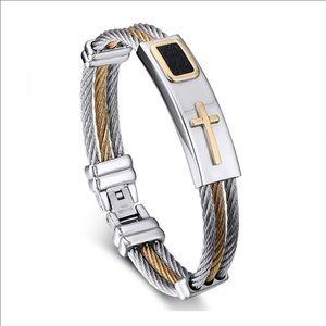 Jewelry - Premium Gold Stainless Steel Cross Bracelet