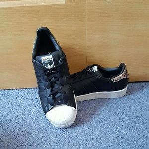 Adidas Shoes - Womens Adidas black and cheetah superstars