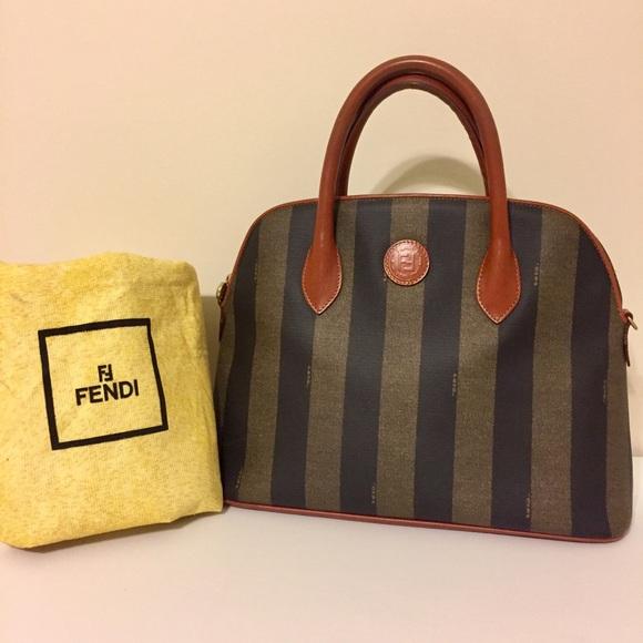 b042da06495 ... zucca signature satchel crossbody purse ec918 2228b new zealand auth  vintage fendi pequin stripe pattern handbag ce2e0 5a7e1 ...