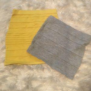 2 mini skirt. Yellow and gray both size small