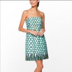 Lilly Pulitzer Bowen Strapless Dress Blue Macrame