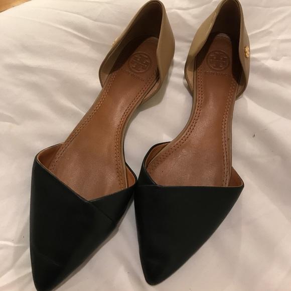 1920c99aa Tory Burch D Orsay Leather Black Nude Flats. M 589527f87f0a059d4d00b119