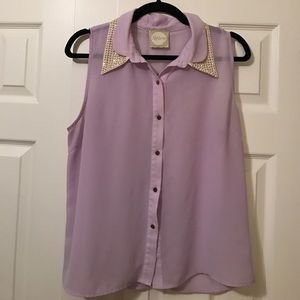 Alythea Tops - Lavender Top with Studded Collar