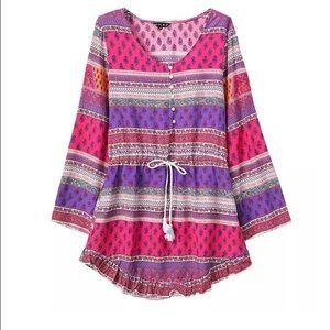 goodnight macaroon Dresses & Skirts - ALASKA VIOLET BUTTON DOWN BOHEMIAN PRINTED DRESS