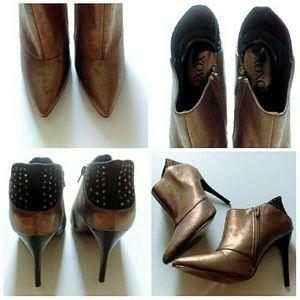 "XOXO Shoes - ⬇Bronze Leathery Studded Boots- ""Jenski"""