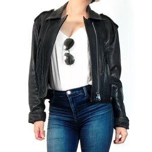 Vintage Jackets & Blazers - Vintage black leather tassel jacket