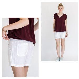 Allen Allen Pants - 100% linen cargo white shorts.
