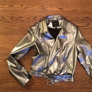 ZARA faux leather silver jacket