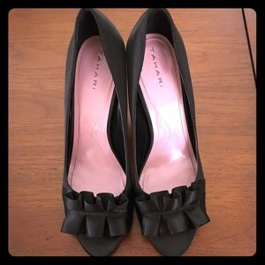 Tahari Shoes - Tahari Ruffle Satin Sloan Open Toe Pumps - Size 10