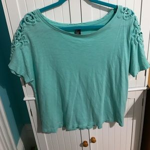 Hollister Tops - Forever 21 teal blouse with lace sleeves size S