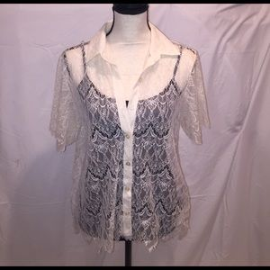 Valette Tops - Sheer Lace Blouse in cream S/S