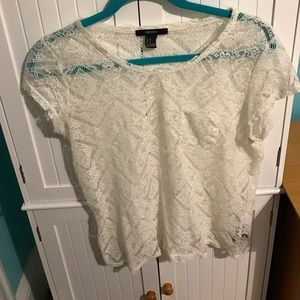 Hollister Tops - Forever 21 sheer lace blouse size M