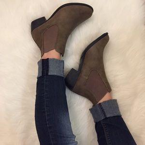 •new• Taupe Heeled Slip On Booties