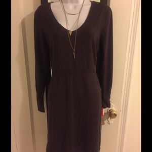 NWT DVF Brown Silk Dress sz M