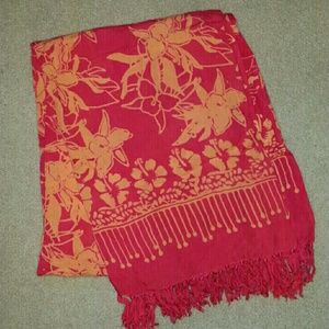 Price firm Red and orange sarong