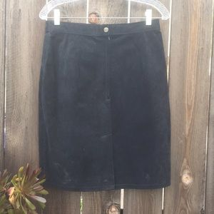VTG 70s LEATHER SUEDE SKIRT SZ M