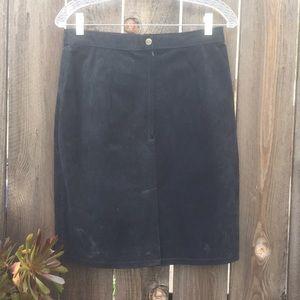 Vintage Dresses & Skirts - VTG 70s LEATHER SUEDE SKIRT SZ M