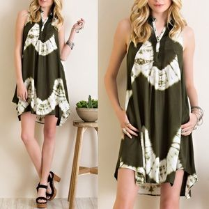 1 HR SALECECILY tie dye dress - OLIVE