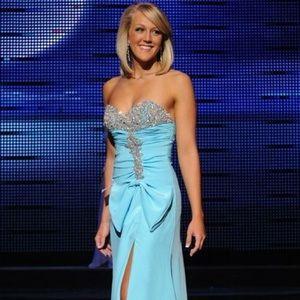 Tony Bowls Dresses & Skirts - Tony Bowls // crystallized aqua bow pageant gown