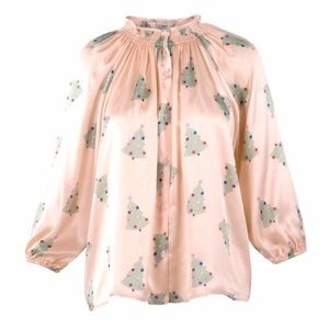 Tucker Tops - Tucker Pink Classic Button Front Blouse