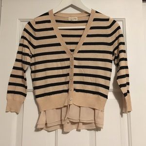 Nude and Navy Stripes Cardigan