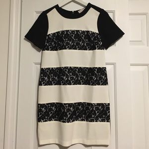 Black Lace and White Stripes Dress