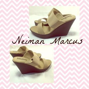 Neiman Marcus Shoes - NEIMAN MARCUS Elastic Strappy Wedges