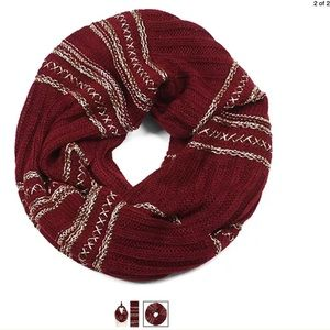 NEW Dark Red & Gold Foil Knit Foil Infinity Scarf