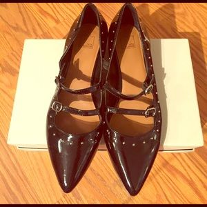 14th & Union Shoes - Black Studded Pointed Toe Studded Flat with straps