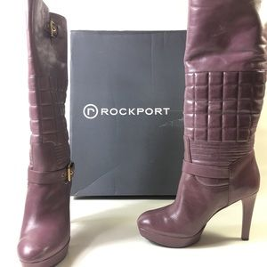 Rockport Shoes - NWT Rockport Janae Quilted Leather Purple Boots wm