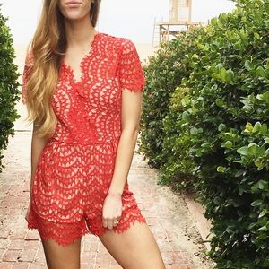 Pants - red lace romper