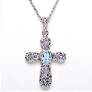 Jewelry - BLUE TOPAZ AND DIAMOND ACCENT CROSS