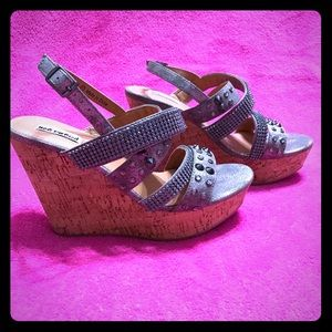 Not Rated Shoes - NEW Not Rated Pewter Studded/Bling Wedges