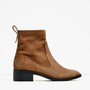 Flat Leather Ankle Boots - ZARA