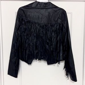 Jackets & Blazers - Black Fringe Pleather Jacket!