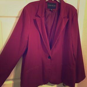 Maroon plus size blazer
