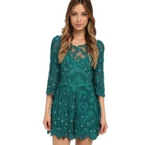 Free People Other - 💚Free People Songbird Emerald Green Sequin Romper