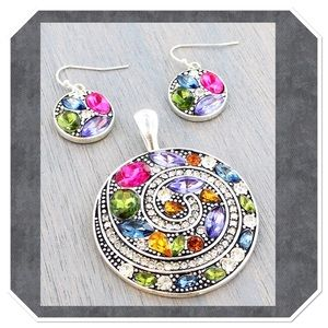 Rainbow Jeweled Swirl Pendant Set