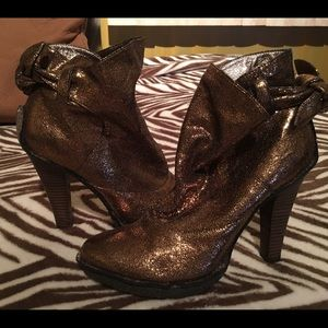 Shoes - Bronze metallic genuine leather ankle booties
