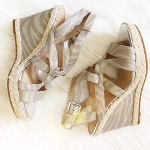 ANTONIO MELANI Shoes - •NEW• Antonio Melani silver and sand gold wedges