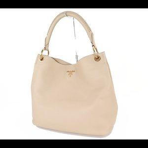 PRADA Beige Leather Tote Hand Bag Purse