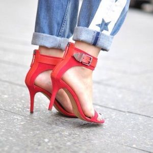 Zara Red Suede Ankle Strap Heels
