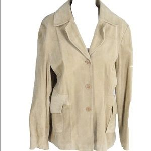 Mossimo Jackets & Blazers - MOSSIMO Tan Genuine Leather 3 Button Jacket Size L