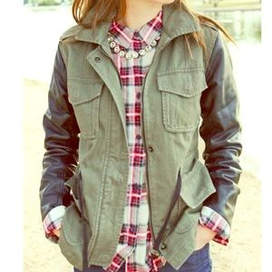 Cargo Jacket with Leather Sleeves