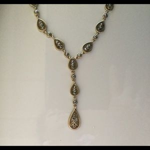 Jewelry - Golden Marcasite Stone Drop Necklace/Earrings