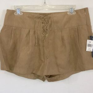 Rampage Pants - NWT Camel Tan Faux Suede Lace Up Shorts