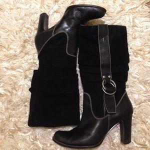 Nine West Shoes - Black Nine West suede & leather cowboy-style boots