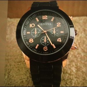 Geneva Other - Geneva Chronograph Black /Copper Color WristWatch